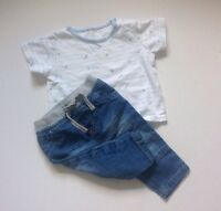 Marks And Spencer + Early Days Baby Boys T-shirt & Jeans Outfit 3-6 Months Top