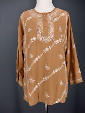 Embroidered Tunic CHADWICKS Top 6 Beige White Sequin Boho Blouse NEW NWT