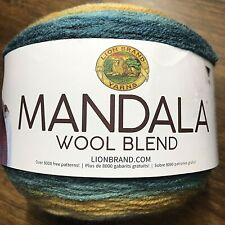 Mandala Lion Brand Wool Blend Zeus Blue Multicolor Yarn Crochet Knit Crafts