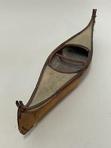 Vintage Hand Crafted Native Canadian Indian Birch Bark Model Canoe