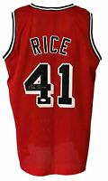 Miami Heat Glen Rice Autographed Pro Style Red Jersey JSA Authenticated