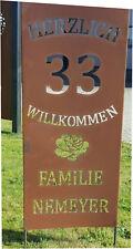 Garten Schild:Text: Familie Ihr Name  Hausnr.  GA06 Gartenstecker Rost Skulptur