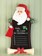 Santa Chalkboard Holiday Christmas Wish List Wall Hanging Decor