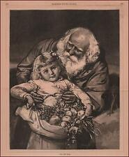OLD FATHER TIME Holding YOUNG NEW YEAR Carrying Fruit & Flowers Antique 1881