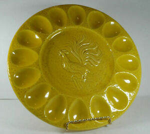 """California #1069 USA Pottery """"Rooster"""" 16 Hole Gold 12"""" Deviled Egg /Relish Tray"""