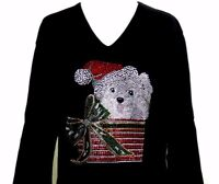 LARGE Hand Embellished Rhinestone Christmas Puppy Dog Bow Package Top Shirt