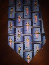 "Tommy Bahama Neck Tie Tropical Hula Girls 100% Silk 56.5"" NEW"