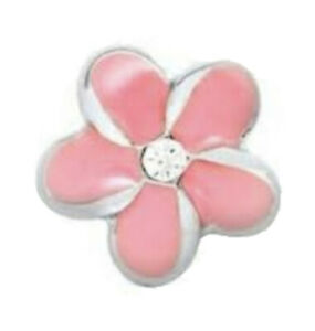 Authentic Origami Owl CORAL PINK PLUMERIA FLOWER Floating Enamel & CRYSTAL Charm