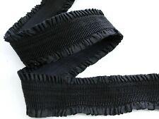 GUMMIBAND MIT Rüschen, Buntgummiband , Rüschengummi  , schwarz,50  mm