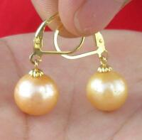 Charming AAA++ 11-10mm Natural South Sea Golden Pearl Earring 14K Gold + Box