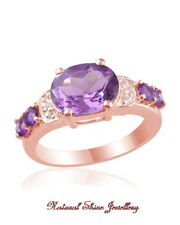 Ring 3 CT. Natural Amethyst 925 Sterling Silver - 18K Rose Gold Flashed Size 6