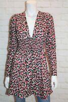 SHEIN Brand Women's Black Floral Shirring Waist Long Sleeve Dress Size S #AN02