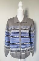 Talbots Womens Cardigan L Large Wool Angora Blend Gray Blue Full Zip Sweater