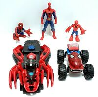 MARVEL Spider-Man Toy Bundle Spider Wars Speedfire Launcher Figures Twisting Car