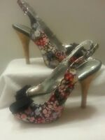 Rampage Shoes Sandals Floral Slingback Open Toe Bow Stilletto High Heels 6.5 M