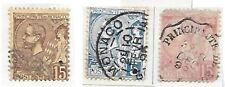 MONACO 1891/94,  5f . 15f . 15 f Albert 1er oblitéré sur fragment