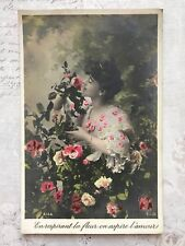 Beautiful Lady Flowers Glamour French Fashion Original Vintage Postcard