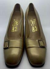 SALVATORE FERRAGAMO Gold Pearl Leather Low Heels Pumps Gancini Buckle 6B Italy