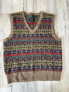 Polo Ralph Lauren Fair Isle Vest Size S Wool Men's