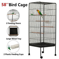 """58"""" Large Bird Parrot Cage Chinchilla Cockatiel Conure House w/Stand Pet Supply"""