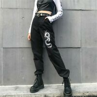 Women Pants High Waist Slim Dragon Embroidery Street Fashion Long Trousers