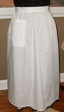 Civil War Dress Victorian Colonial Ladys Ivory Cotton Wrap Around Apron-Plus Sz