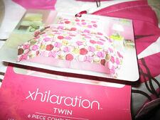TWIN XHILIRATION 6 PIECE BED SET: COMFORTER, SHEETS, SHAM, SKIRT, PILLOWCASE,