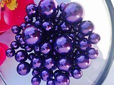 75 Elegant Dark Purple Jumbo Pearls Mix Size For Vase Filler/Decor