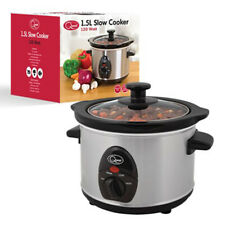Quest 1.5L Stainless Steel 120W Slow Cooker Ceramic Pot. Toughened Glass LID