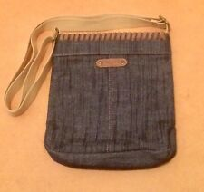 Grey/ Blue Canvas ROCKET DOG Zip Small Messenger/Cross Body Bag Tan Leather Trim