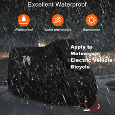Full Black Motorcycle Scooter Waterproof UV Dust Protector Rain Sunshine Cover