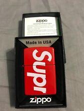 New Supreme SS18 Supreme Box Logo Zippo Lighter Red NYC SUPREME in hand