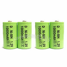 4 pcs D size 10000mAh 1.2V Volt Ni-MH Rechargeable Battery Cell LR20 US Stock