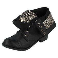 Ladies F5528 Black Studded Lace Up Ankle boot By Spot On