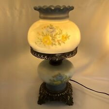 """Vintage Accurate Casting Co Hurricane Lamp Brass Base 3-Way Electric 16"""" Blue"""