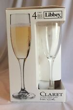 Set Of 4 Libbey 6 oz. Claret  Champagne Glasses Flutes In Box