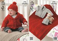 King Cole 3706 Knitting Pattern Baby Jacket, Hat and Blanket in Comfort Chunky