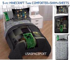 5pc Minecraft Spawn Twin/Single Comforter +Pillow Sham +Sheets Set Creeper Gamer