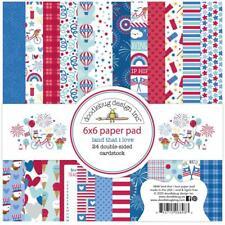 Patriotic USA Land I Love Scrapbooking 6x6 inch Paper Pad Doodlebug 24 Sheet NEW