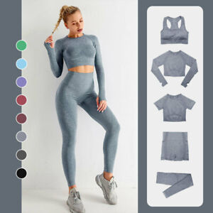 2/3/5PCS Seamless Women Yoga Set Workout Sportswear Gym Fitness Sports Suits