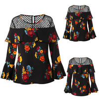Women  Long Sleeve Flower Print Lace Hollow T Shirts Tops Blouse Plus Size Tops