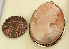 Lovely Ladies Full Hallmarked Vintage 9Ct Gold Cameo Brooch & Pendant