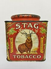Vintage STAG TOBACCO Square Tin Pipe & Cigarette Tin Litho RARE P.Lorillard Co.