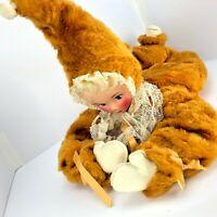 "VTG Plush Doll 1960-70s MCM MOD Toy 20"" Clown Fur Wire Frame Boudoir Bed Bedroom"