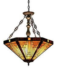 "Stained Glass Chloe Lighting Mission 3 Light Inverted Pendant Fixture 22"" Shade"