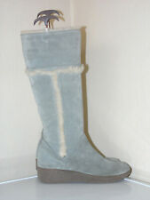 NEXT Womens size 6 Wide Shearling Grey Suede Winter Boots Knee high RRP£59.99