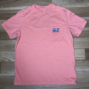 NWOT Boys Vineyard Vines Short Sleeve Whale Pocket Tee Shirt Large/14 Coral