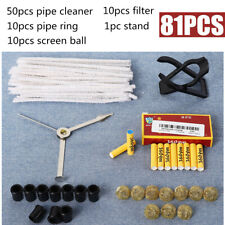 81pcs Tobacco Smoking Pipe Accessories+Holder+Filter Ring+Cleaner+Filter Ball US