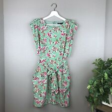 W118 by Walter Baker Green Pink Floral Print Tie Front Dress Size Small EUC