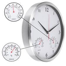 Wanduhr mit Thermometer Hygrometer Modern Leise Quarz Uhr Groß Lautlos analog